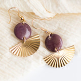 spring purple fan gold modern earrings