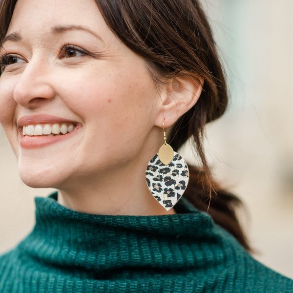 White Leopard Cora Earrings