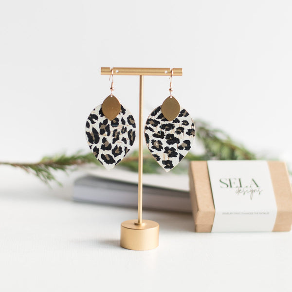 Snow Leopard Cora Earrings
