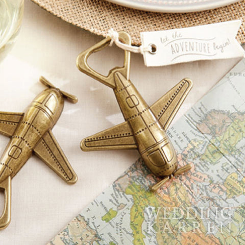 Adventure Begin - Airplane Bottle Opener Wedding Favours