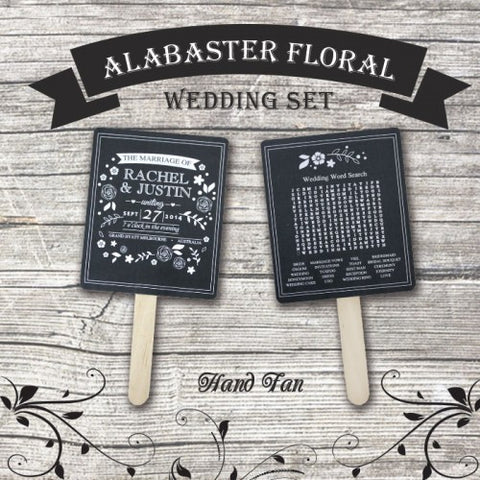 Alabaster Floral - Personalized Wedding Program Fan