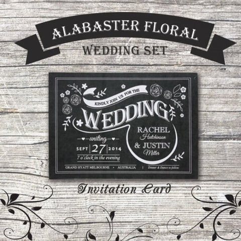 Alabaster Floral - Wedding Invitation Card
