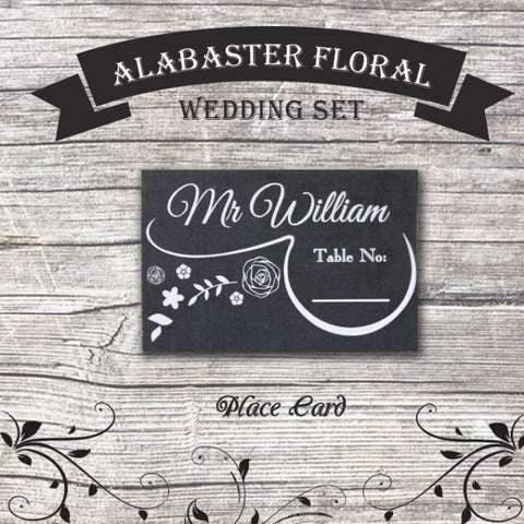 Alabaster Floral - Wedding Place Card