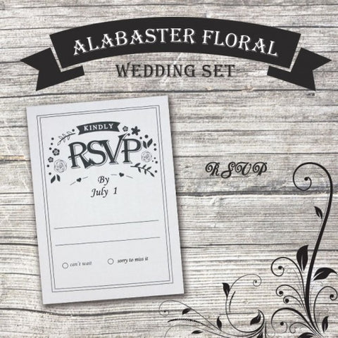 Alabaster Floral - Wedding RSVP Card