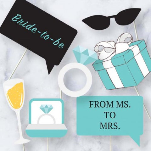 Aqua Theme - Bridal Shower Photo Booth Props