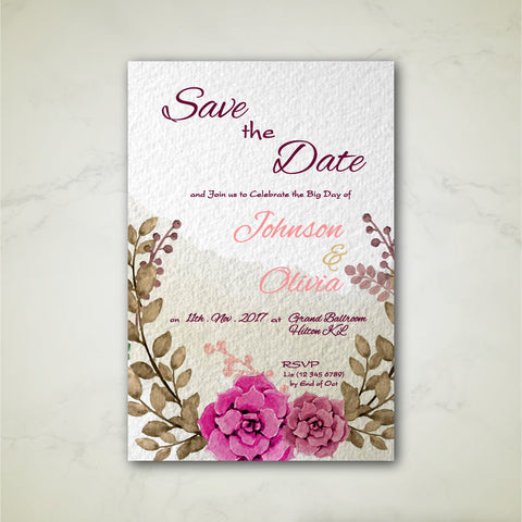 Autumn Floral Watercolour - Wedding Invitation Card