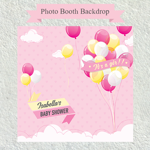 Balloon In The Air Girl Baby Shower Photo Booth Backdrop Wedding