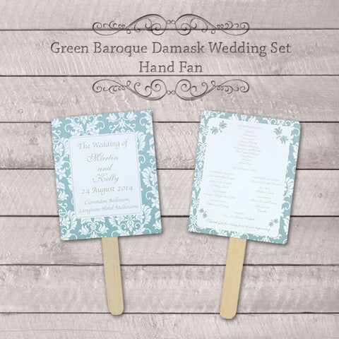 Baroque Damask Motif - Personalized Wedding Program Fan