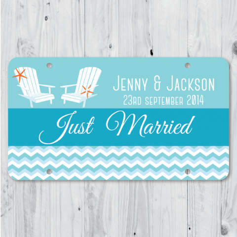 Beyond the Sea - Just Married Personalized Car Plate
