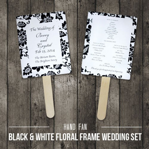 Black & White Floral - Personalized Wedding Program Fan