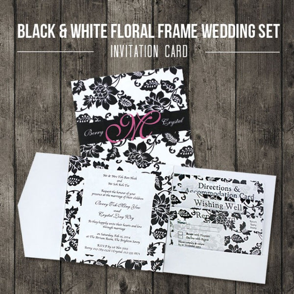 Black & White Floral - Wedding Invitation Card