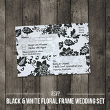 Black & White Floral - Wedding RSVP Card