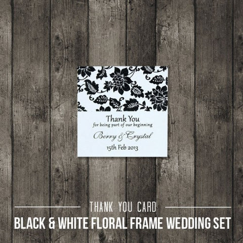Black & White Floral - Wedding Thank You Card