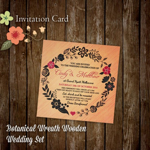 Botanical Wreath - Wedding Invitation Card