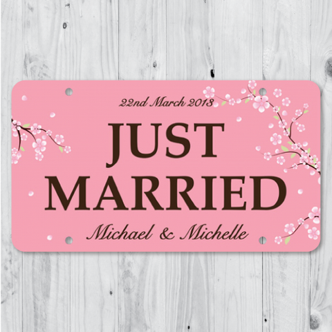 Cherry Blossom - Just Married Personalized Car Plate