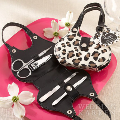 Chic Cheetah Animal Print Purse - Manicure Set Favours