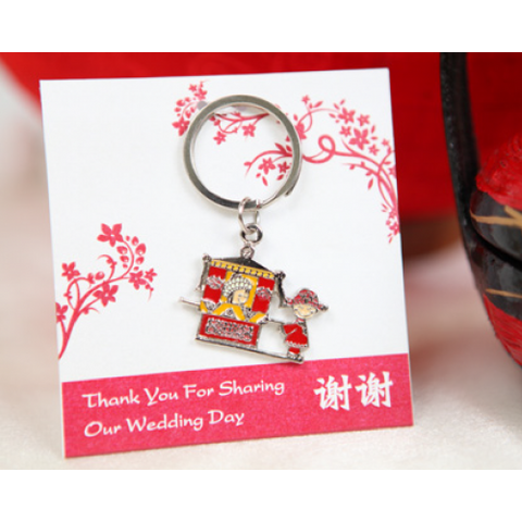 Couple on Sedan Chair - Personalized Keychain Door Gifts
