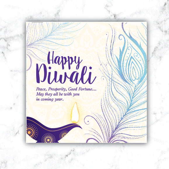 Diya Oil Lamp - WHITE Deepavali Collection Greeting Card