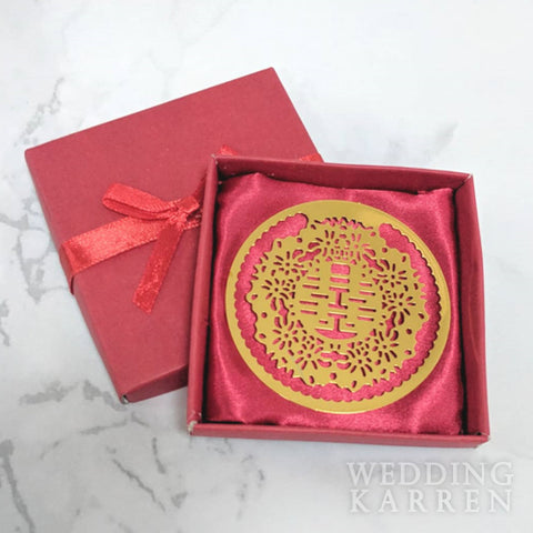 Double Happiness - GOLDEN Bookmark Wedding Favours