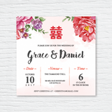 Double Happiness - Wedding Invitation Card