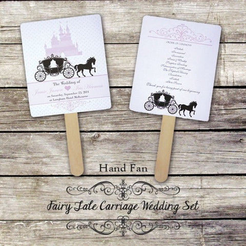 Enchanted Carriage - Personalized Wedding Program Fan