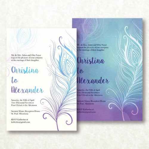Feather Motif - Wedding Invitation Card
