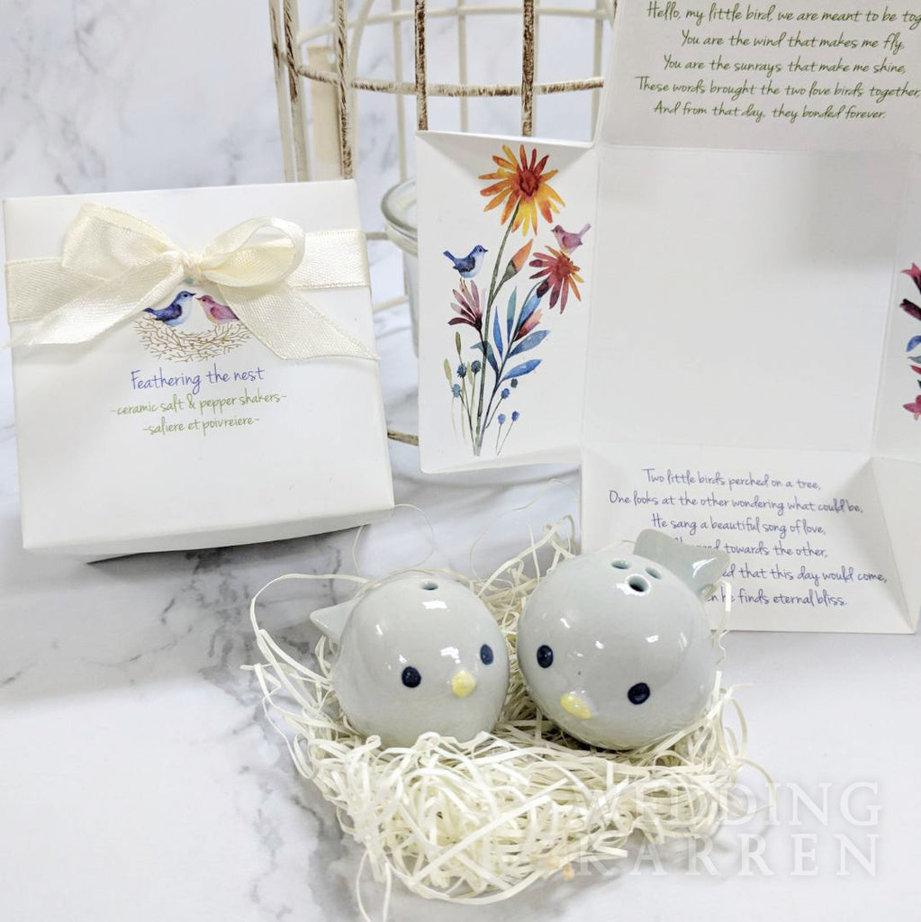 Feathering The Nest Salt Pepper Shaker Wedding Favours Wedding