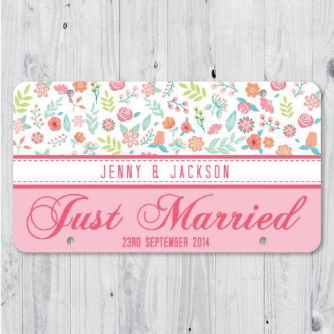 Floral - PINK Just Married Personalized Car Plate