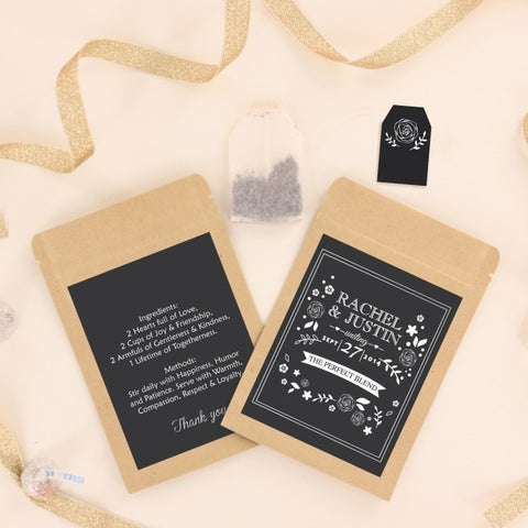 Floral Black and White Personalized Tea Bag Wedding Favours