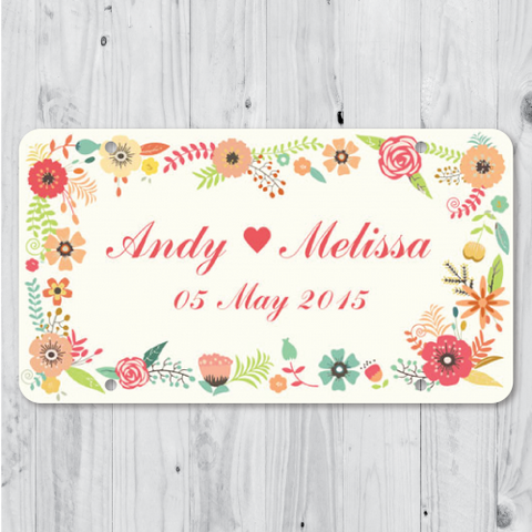 Floral - CREAM Just Married Personalized Car Plate