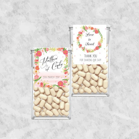 Floral Personalized Tic Tac Wedding Favours