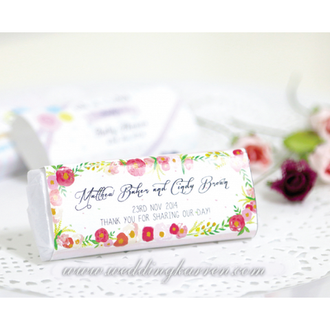 Floral Style Personalized Kit Kat Wedding Favours