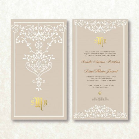 Golden Maharani - PASTEL Wedding Invitation Card