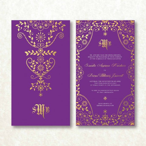 Golden Maharani - PURPLE Wedding Invitation Card