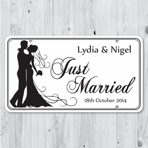 Happy Couple - Just Married Personalized Car Plate