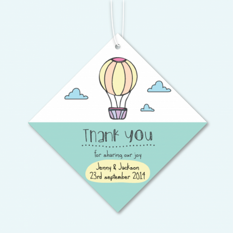 Hot Air Balloon - Personalized Door Gifts Thank You Tag