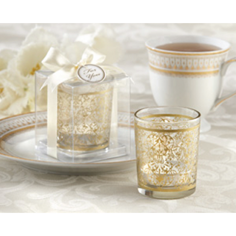 Intricate Motifs - GOLD Tealight Holder Wedding Favours