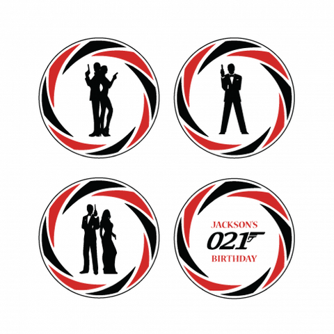 James Bond Theme - Mini Party Cupcake Topper