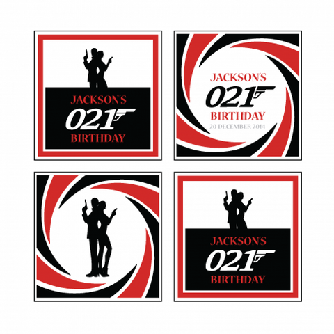 James Bond Theme - Party Label Tag