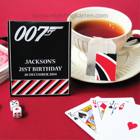 James Bond Theme - Tea Bag Party Favours Door Gifts