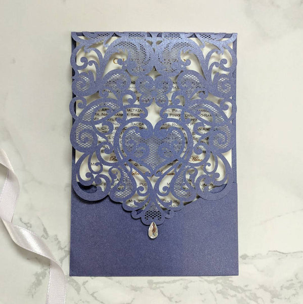 Laser-Cut Collection - BLUE Wedding Invitation Card