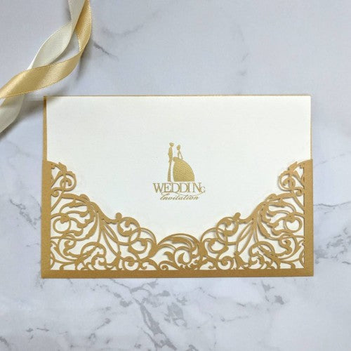 Laser-Cut Collection - GOLD Wedding Invitation Card