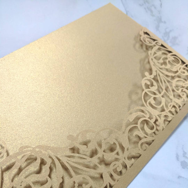 Laser Cut Collection Gold Wedding Invitation Card