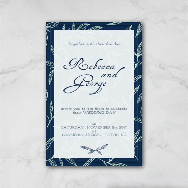 Leaf Motif - Wedding Invitation Card