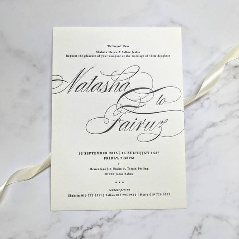 Letterpress Collection - INITIALS Wedding Invitation Card