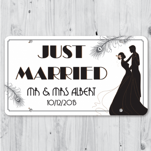 Look of Love - Just Married Personalized Car Plate
