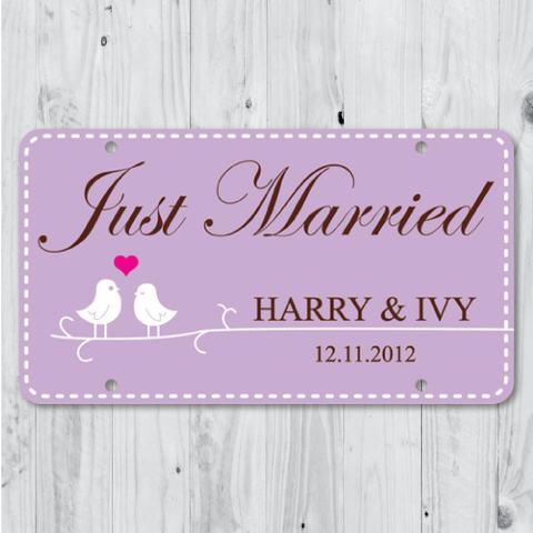 Love Bird - Just Married Personalized Car Plate