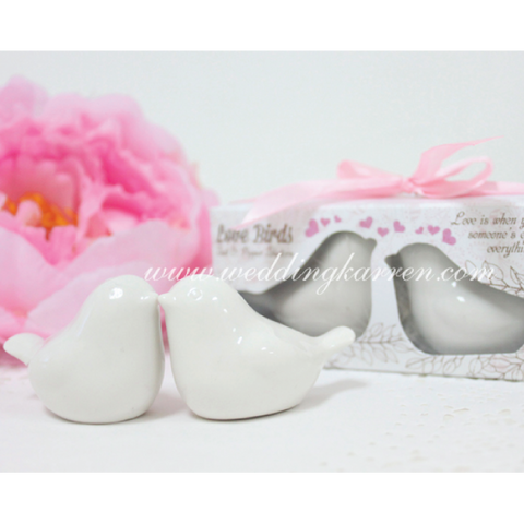 Love Birds - PINK Salt & Pepper Shaker Wedding Favours