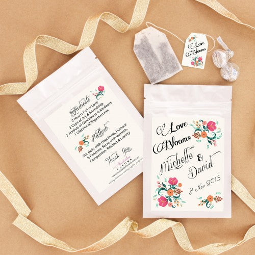 Love Blooms Personalized Tea Bag Wedding Favours - Wedding Karren