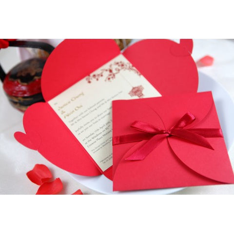 Love Letter in Petal - RED Wedding Invitation Card